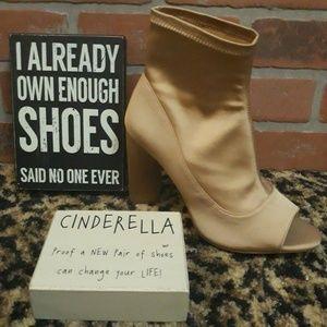 Gianni Bini NUDE Peep Toe High Heel Booties Shoes